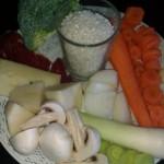 Puré de verduras variadas y arroz